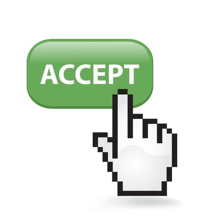 Accept button cursor hand. Stock Illustratie