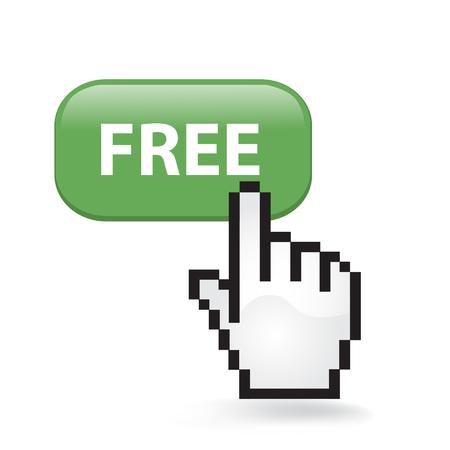 Free button cursor hand. Ilustrace