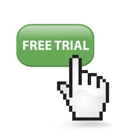 Free Trial Button Cursor with Hand illustration on white background.