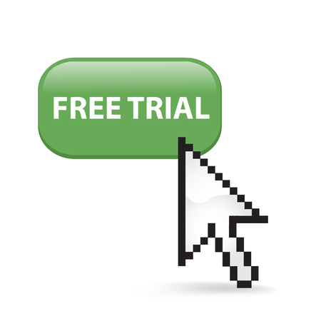 Free Trial Button Cursor with Arrow illustration on white background. 向量圖像