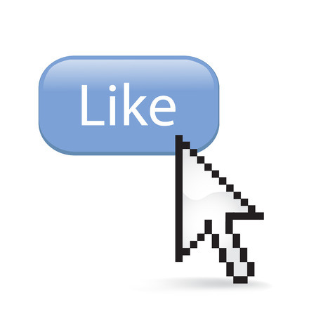 Like Button Cursor with Arrow illustration on white background.