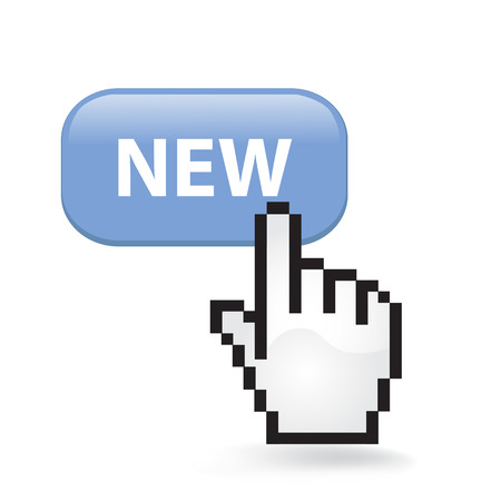 New Button Cursor with Hand illustration on white background.