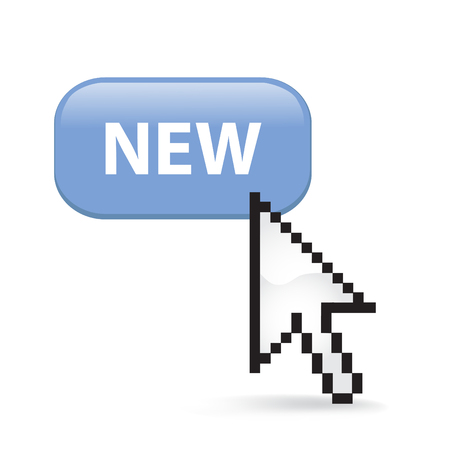 New Button Cursor with Arrow illustration on white background. 向量圖像