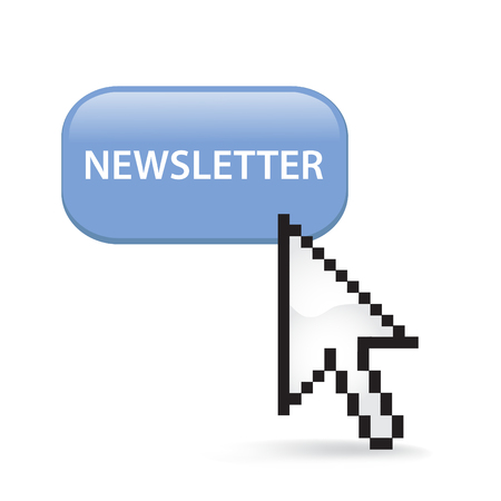 Newsletter Button Cursor with Arrow illustration on white background.