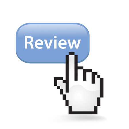 Review Button Cursor with Hand illustration on white background.