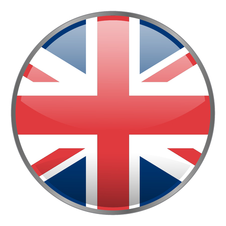 kindom: Round glossy vector glow icon with national flag of United Kindom on white background. Isolated Great Britain icon.