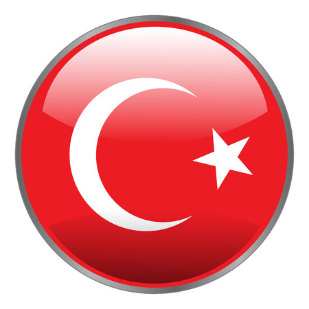 Turkey flag. Round isolated vector icon with national flag of Turkey on white background.