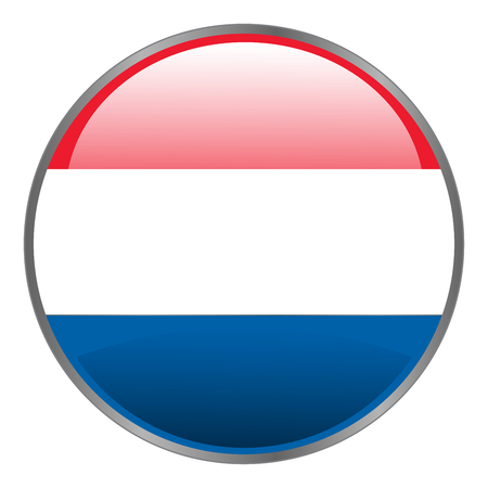 dutch flag: Netherlands Holland Dutch flag. Round isolated vector icon with national flag of Netherlands Holland Dutch.