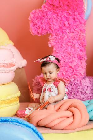 Cute little girl celebrate her first birthday