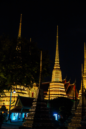 BangkokThailand- 25012017: Wat Po, The Temple of reclining buddha, at night Editorial