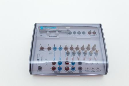 dental prosthetics tools kit on white background. Stock Photo