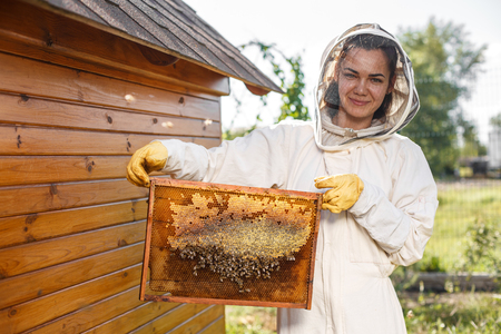 Young female beekeeper hold wooden frame with honeycomb. Collect honey. Beekeeping concept. Reklamní fotografie