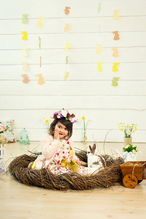 A happy little girl in a dress with flowers on her head is sitting in a nest and holding cute fluffy Easter ducklings in her arms. In the nest sits a white Easter rabbit. 写真素材