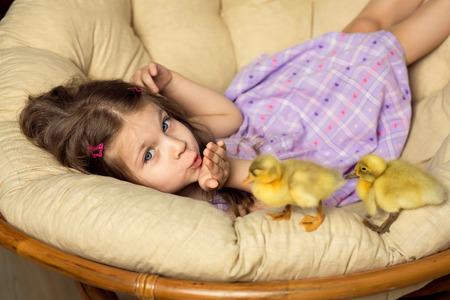 Beautiful little girl sends a kiss. Cute fluffy Easter ducklings walk alongside the girl.