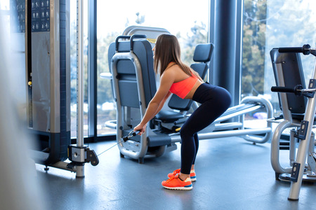 Exercises in block simulator. Biceps extension. Athletic woman workout in gym.