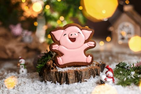 Holiday traditional food bakery. Gingerbread lucky pink pig with 2019 text in cozy warm decoration with garland lights.