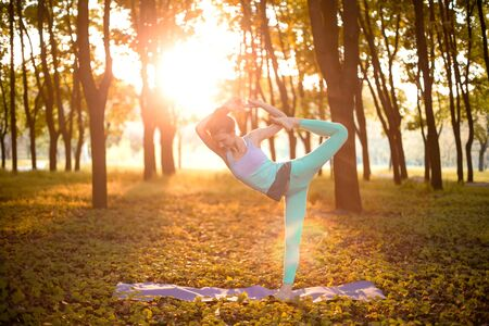 Thin brunette girl doing Natarajasana exercise, Lord of the Dance pose in autumn park on a sunset background. Woman doing exercises on the yoga mat. Autumn forest. Soft focus. 写真素材