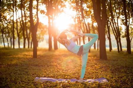 Thin brunette girl doing Natarajasana exercise, Lord of the Dance pose in autumn park on a sunset background. Woman doing exercises on the yoga mat. Autumn forest. Soft focus. Banco de Imagens
