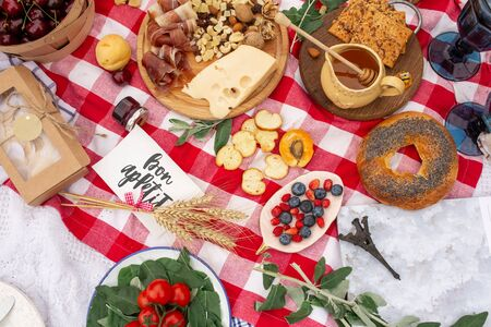 Checkered picnic blanket in french style with foods and sign says bon appetit.