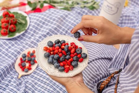 Woman in checkered stylish dress take berry from berries plate. Outdoor picnic. 스톡 콘텐츠