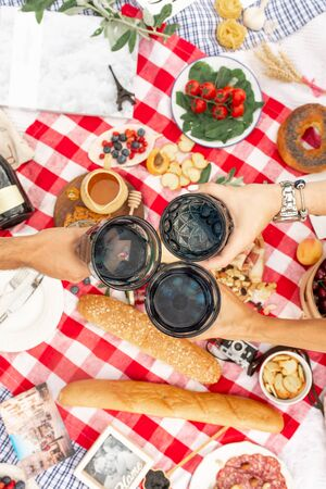 Summer picnic holidays. Top view friends clink glasses on checkered blanket background.  content