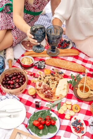 Summer picnic holidays. Top view friends clink glasses on checkered blanket background. Stock Photo