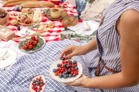 Woman in checkered stylish dress take berry from berries plate. Outdoor picnic. Stock Photo