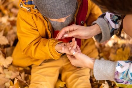 A little boy in an autumn park sits on yellow leaves in a yellow jacket and holds a ladybug in childrens hands. A red beetle crawls on the fingers of a child