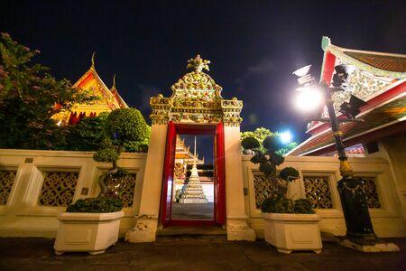 BangkokThailand- 25012017: Wat Po, The Temple of reclining buddha, at night.