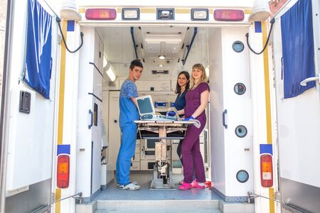 Professional pet doctors doing ultrasound scan for dog breed yorkshire terrier inside pet ambulance car 写真素材