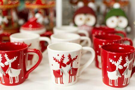 Set of mugs with deer of Christmas theme