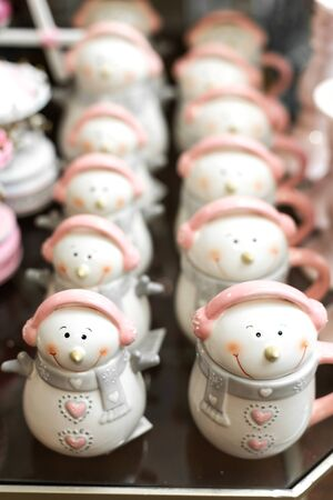 Set of mugs in the form of snowmen