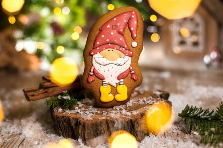 Holiday traditional food bakery. Gingerbread little fairytale gnome in cozy decoration with garland lights.