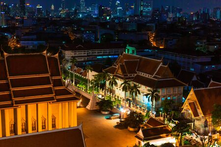 Night view on Bangkok city. night lights on the horizon Редакционное