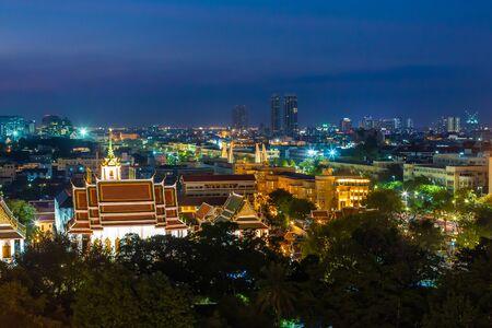 Night view on Bangkok city. Golden Mount.