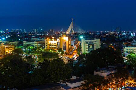 Night view colorful on Bangkok city landscape.