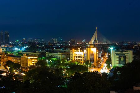 Night view on Bangkok city.night lights on the horizon
