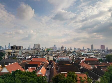 Landscape view of bangkok in the afternoon. Cloudy weather.