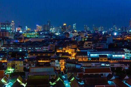 Night view on Bangkok city. night lights on the horizon.