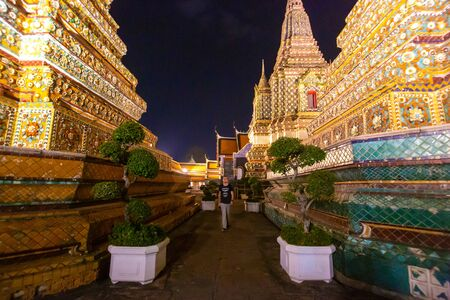 Wat Po, The Temple of reclining buddha, at night.