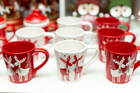 Set of mugs with deer of Christmas theme