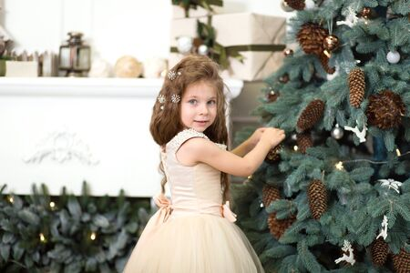 A cute little girl in a lush beige dress hangs cones on the Christmas tree that is standing in the house. Christmas tale, happy childhood. Stock Photo