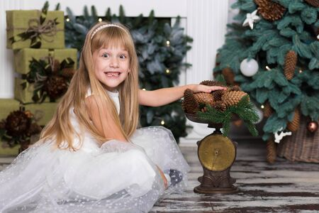 A little girl weighs on the scales pine cones decorations for the Christmas tree. Merry Christmas and happy New Year. People and kids concept. Stock Photo