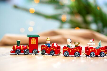 Christmas greeting card with train and Christmas decoration