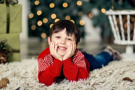 Portrait of a little boy play with pine cones near a Christmas tree. Christmas decorations. Merry Christmas and happy New Year 2020 Фото со стока