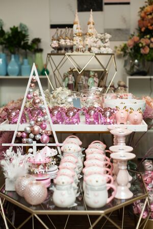 Shop decor. Beautiful dishes, statues and other trinkets