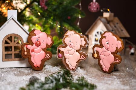 Holiday traditional food bakery. Three Gingerbread funny piggy in cozy warm decoration with garland lights.