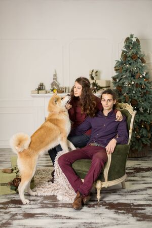 Young happy couple cuddling adorable akita inu dog while sit on stylish retro armchair for Christmas holidays at home. Christmas tree and fireplace background. Cozy home decorations. Stock Photo