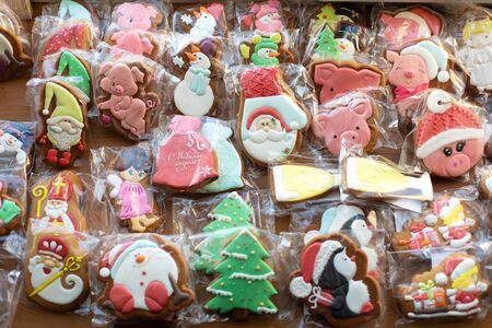 Lot of packed Christmas gingerbread cookies. Ready for holidays. Top view.