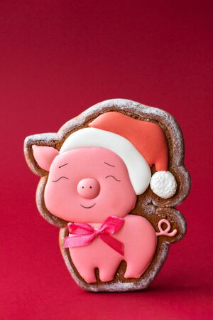 gingerbread cookie of round snowman on red background. Traditional Christmas food. Christmas and New Year holiday concept.ava gingerbread cookie of cute pink pig on red background. Traditional Christmas food. Christmas and New Year holiday concept. Copyspace.